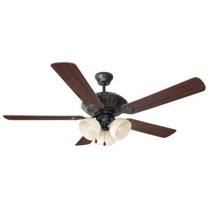 Design House 154120 Trevie 52in 3-Light 5-Blade Ceiling Fan, Dark Mahogany or Bleached Oak Blades, Oil Rubbed Bronze