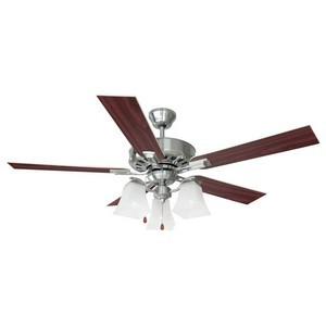Design House 154138 Torino 52in 3-Light 5-Blade Ceiling Fan, Redwood or Light Maple Blades, Satin Nickel
