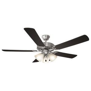 Design House 154229 Millbridge 52in 3-Light 5-Blade Energy Star Ceiling Fan, Black or Light Maple Blades, Satin Nickel