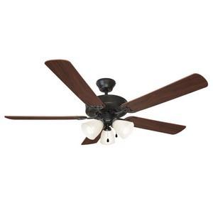 Design House 154237 Millbridge 52in 3-Light 5-Blade Energy Star Ceiling Fan, Dark Mahogany or Light Maple Blades, Oil Rubbed Bronze
