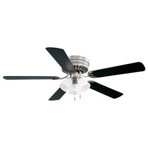 Design House 156018 Millbridge 52in 3-Light 5-Blade Hugger Mount Ceiling Fan, Black Blades, Satin Nickel