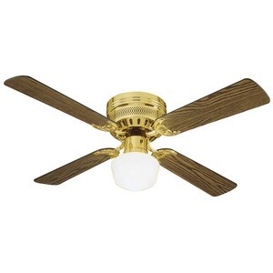 Design House 156588 Millbridge 42in 1-Light 4-Blade Hugger Mount Ceiling Fan, Medium Oak or Walnut Blades, Polished Brass