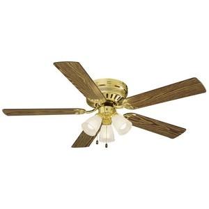 Design House 156604 Millbridge 52in 3-Light 5-Blade Hugger Mount Ceiling Fan, Medium Oak or Walnut Blades, Polished Brass