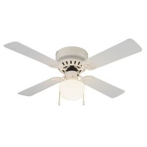 Design House 157958 Millbridge 42in 1-Light 4-Blade Hugger Mount Ceiling Fan, Bleached Oak or White Blades, White