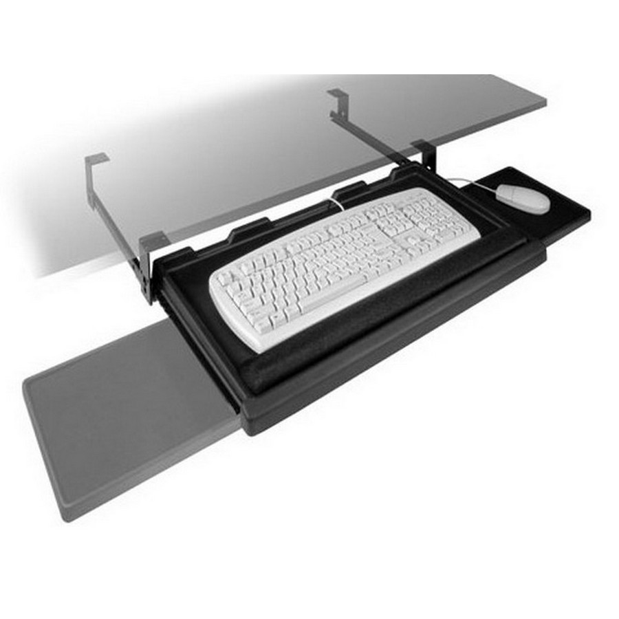 Pull-Out Keyboard Tray with Mouse Tray Black Fulterer FR1602BL