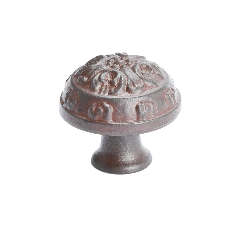 """Baroque Knob 1-1/4"""" Dia Bronze Rust Glaze Berenson 1614-1RBG-P"""