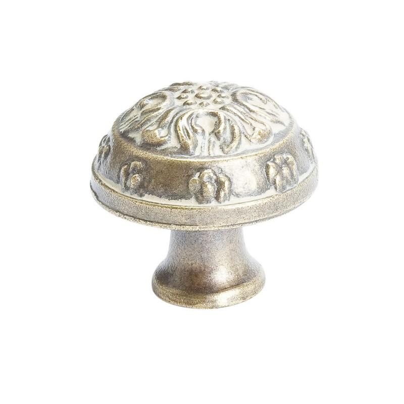 """Baroque Knob 1-1/4"""" Dia Antique Latte Glaze Berenson 1625-1AG-P"""