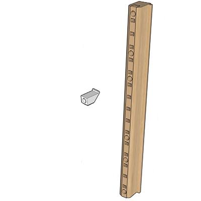 "Quicktray Maple Wood Pilaster Side Mounting Bracket System with Beige Insert 2"" Bulk 5 Sets Tenn-Tex B-513-01"