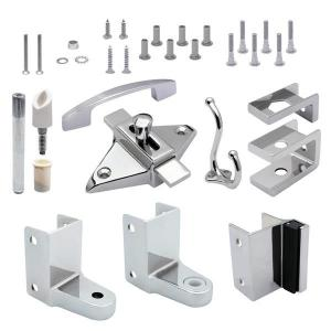 Jacknob 21000, Toilet Door Zamak Hardware Kit for 1in Thick Out-Swing Doors, Chrome