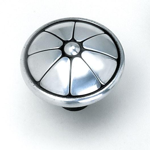 "Kama Knob 1-1/2"" Dia Antique Silver Laurey 23460"