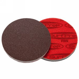 "SurfPrep 5""x10mm Red Foam Abrasives Disc, 100 Fine, Aluminum Oxide, No Hole, Hook/Loop"