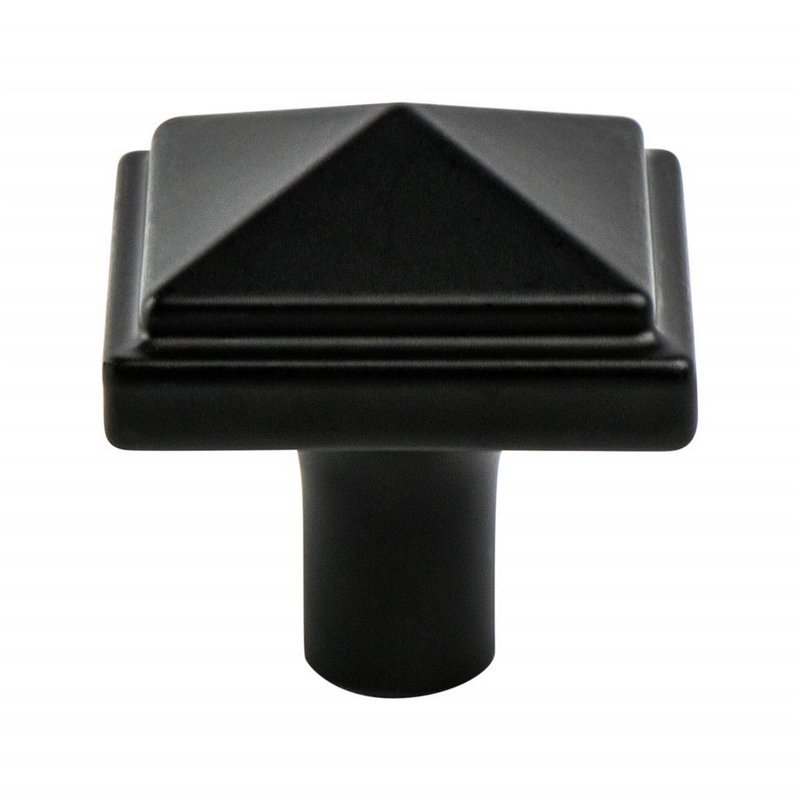 Berenson 3049-155-P Square Knob, Length 1-3/16, Satin Black, Rhapsody