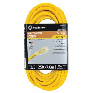 Northern Safety 29346 25' Extension Cord, Outdoor, 12/3 Gauge