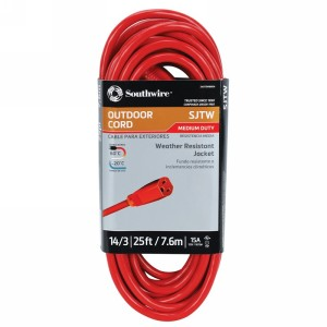 Northern Safety 29343 25' Extension Cord, Outdoor, 14/3 Gauge