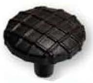 "Midtown Knob 1-1/4"" Dia Iron Black/Terra Cotta Laurey 39421"