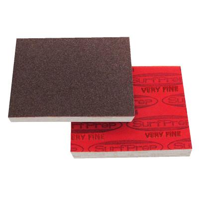 "SurfPrep 3""x4"" 10mm Red Abrasive Foam Pad, Aluminum Oxide, Hook/Loop, 150 Very Fine, No Hole"