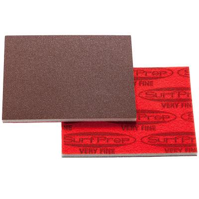 "SurfPrep 3""x4"" 5mm Red Foam Abrasives Pad, Aluminum Oxide 80 Medium+, No Hole"