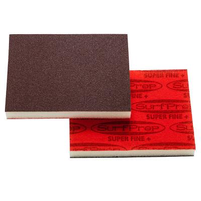 "SurfPrep 3""x4"" 1/2"" Red Abrasive Foam Pad, Aluminum Oxide, Hook/Loop, 220 Super Fine+, No Hole"