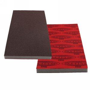 "SurfPrep 3-2/3""x7"" 10mm Red Foam Abrasives Pad, Aluminum Oxide, Hook/Loop, 150 Very Fine, No Hole"
