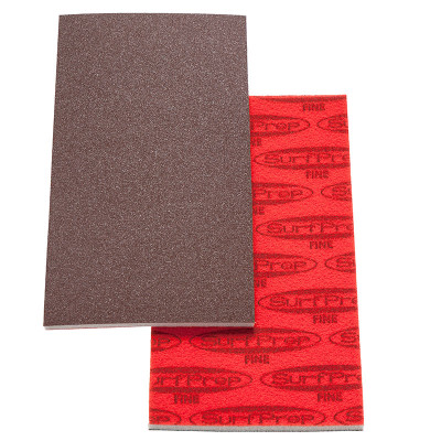 "SurfPrep 3-2/3""x7"" 5mm Red Abrasive Foam Pad, Aluminum Oxide, Hook/Loop, 150 Very Fine, No Hole"
