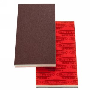 "SurfPrep 3-2/3""x7"" 1/2"" Red Abrasive Foam Pad, Aluminum Oxide, Hook/Loop, 220 Super Fine+, No Hole"