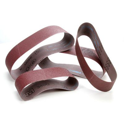3M 51144324743 Edge Sanding Belt, Aluminum Oxide on X-Weight Cloth, 4 x 132in, 80 Grit