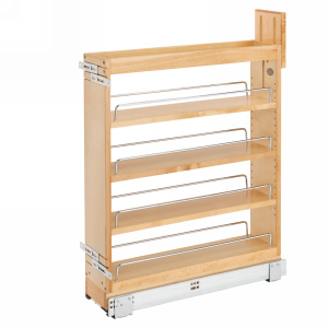 "5"" Base Cabinet Organizer with BLUMOTION Soft-Close and SERVO-DRIVE Maple Rev-A-Shelf 448-BCSCSD-5C"