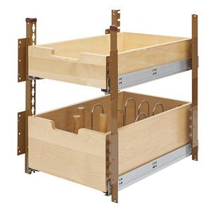 """Rev-A-Shelf 4PIL-18SC-2, 16-5/16""""W Base Cabinet Pilaster 2-Drawer Kit, Brown"""