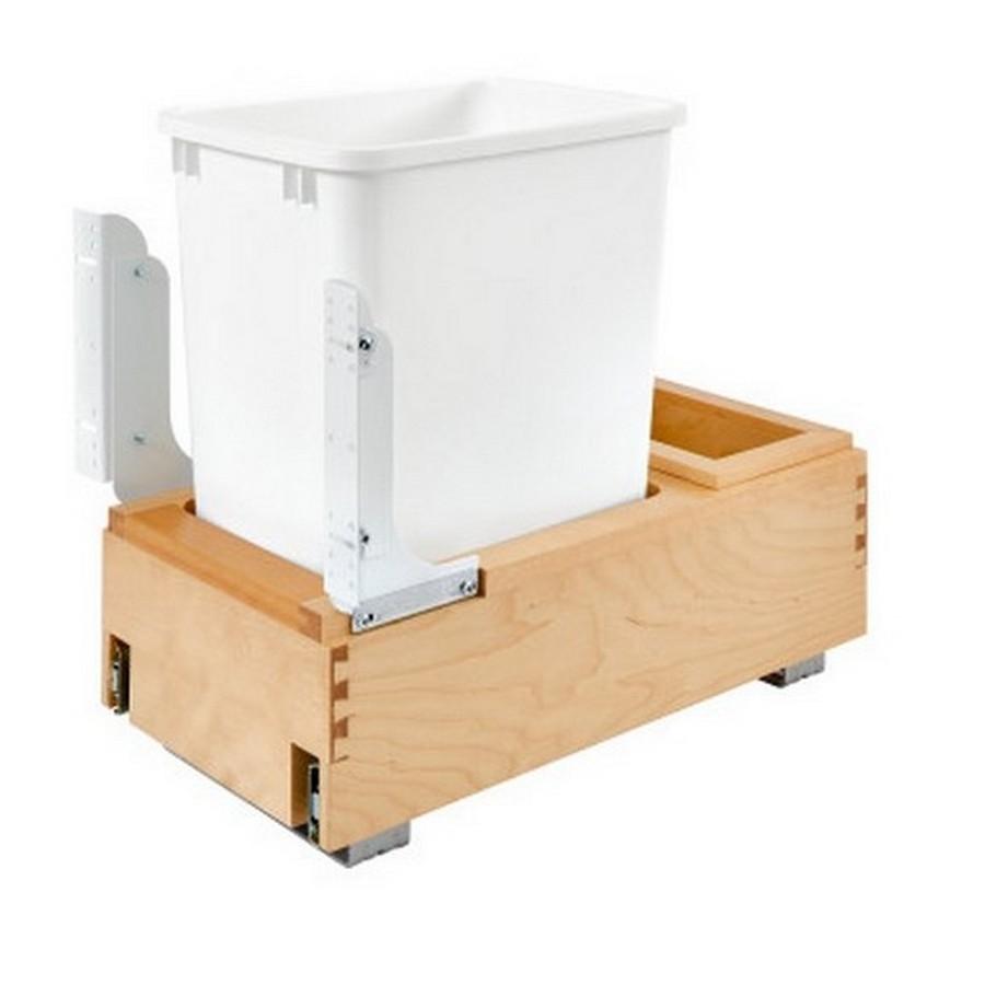 4WC 35 Quart Single Bottom Mount Waste Container Maple Rev-A-Shelf 4WC-15DM1