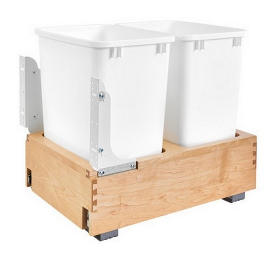 4WC 35 Quart Double Bottom Mount Waste Container Maple Rev-A-Shelf 4WC-18DM2