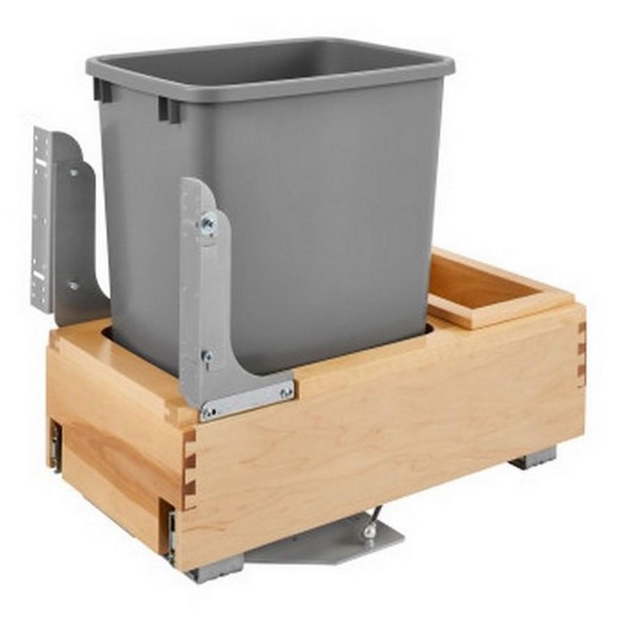 4WCBM Single 35 Quart Bottom Mount Waste Container Maple Rev-A-Shelf 4WCBM-15DM-1
