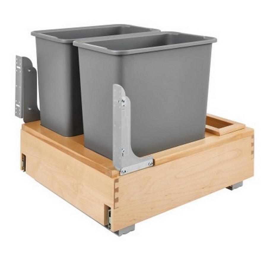 4WCBM Double 30 Quart Bottom Mount Waste Container Maple Rev-A-Shelf 4WCBM-2430DM-2