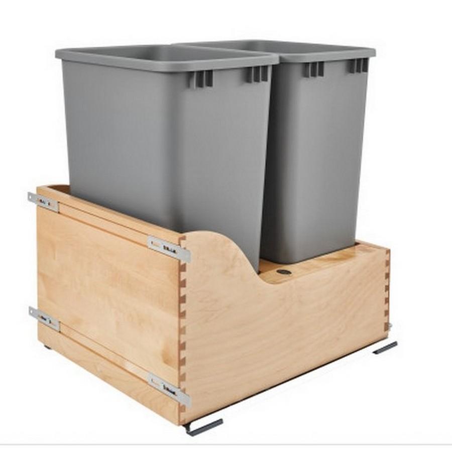 4WCSC Double 50 Quart Bottom Mount Waste Container Maple Rev-A-Shelf 4WCSC-2150DM-2