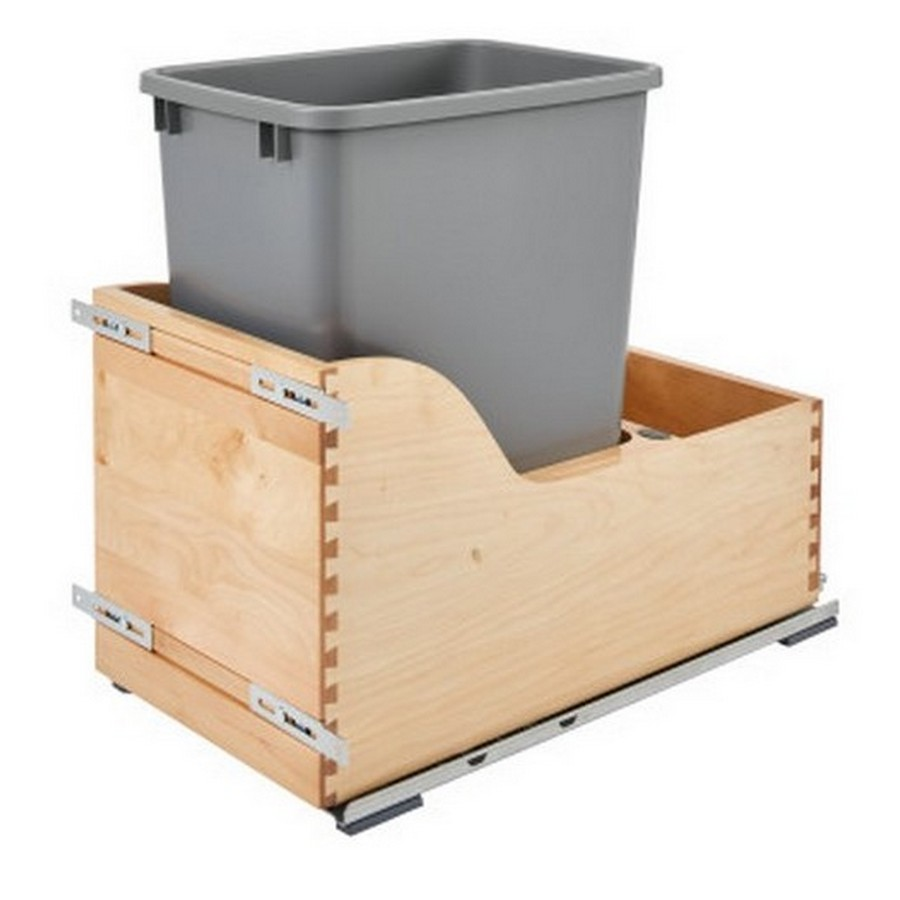 4WCSC Single 35 Quart Bottom Mount Waste Container Maple Rev-A-Shelf 4WCSC-1535DM-1