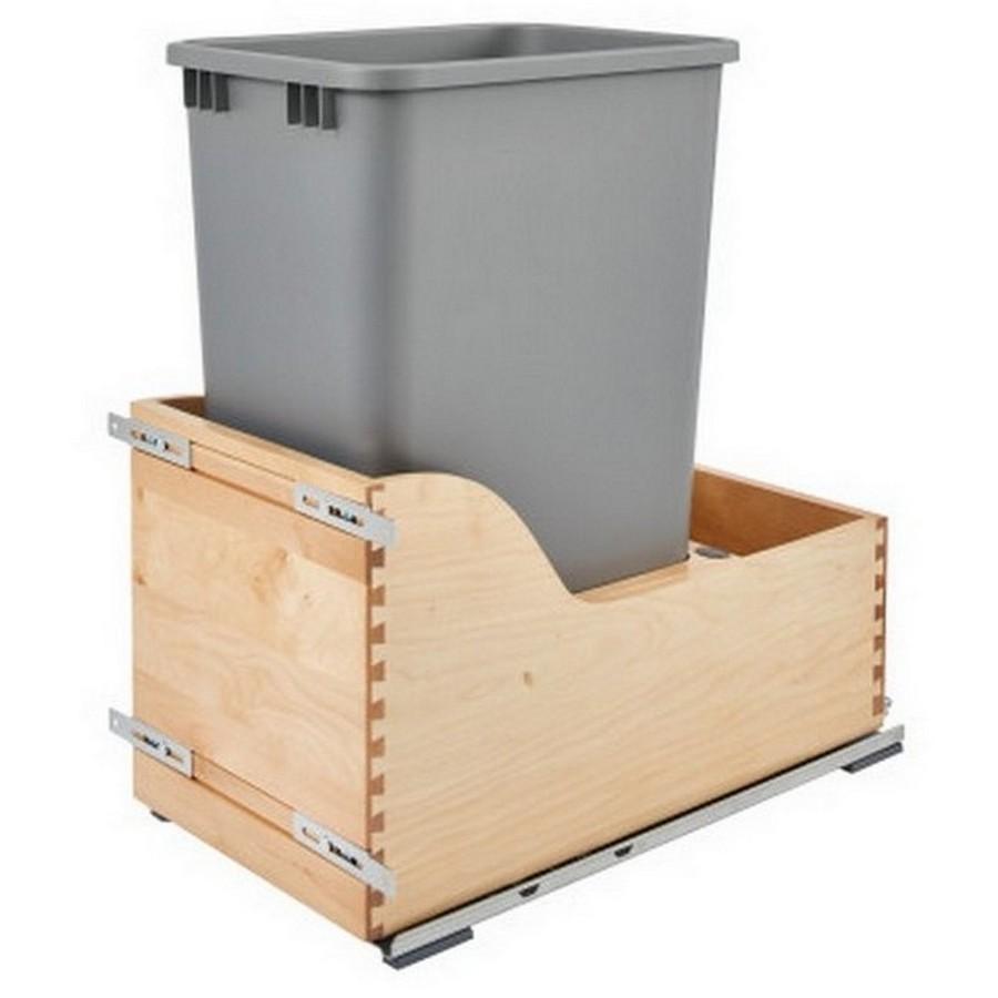 4WCSC Single 50 Quart Bottom Mount Waste Container Maple Rev-A-Shelf 4WCSC-1550DM-1