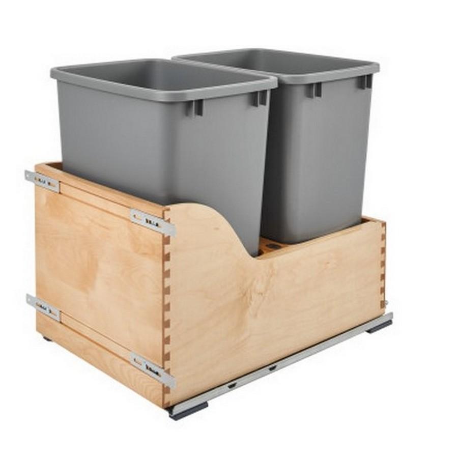 4WCSC Double 35 Quart Bottom Mount Waste Container Maple Rev-A-Shelf 4WCSC-1835DM-2