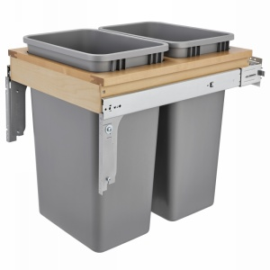 4WCTM Top Mount Double 50 Quart Wastre Container Maple Rev-A-Shelf 4WCTM-2150BBSCDM-2