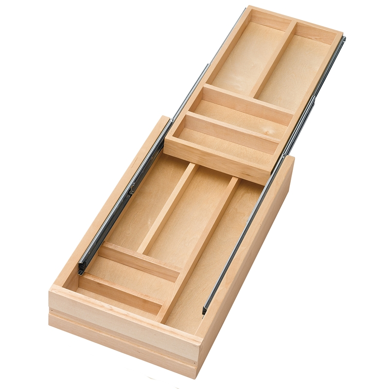 "15"" Face Frame 2-Tiered Cutlery Drawer with Ball Bearing Slides,  Rev-A-Shelf 4WTCD-15-1"