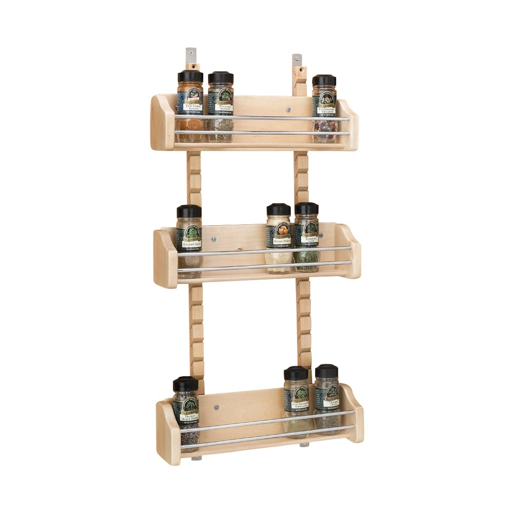 "10-1/8"" Adjustable Door Mount Spice Rack Bin Only  Maple Bulk-10 Rev-A-Shelf 4ASR-15BIN-10"