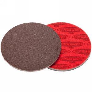 "SurfPrep 3""x5mm Red Foam Abrasives Disc, 100 Fine, Aluminum Oxide, No Hole, Hook/Loop"