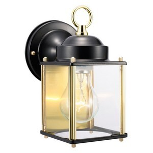 Design House 502658 Coach Outdoor Downlight, 4-1/2 X 8, Black & Polished Brass