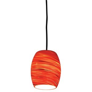 Design House 505768 Red Hot Art Glass Pendant, Satin Nickel