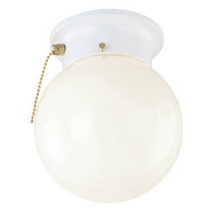 Design House 510040 1-Light Glass Globe Ceiling Mount with Pull Cha, White