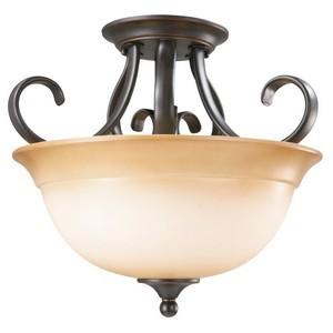 Design House 512608 Cameron 2-Light Semi-Flush Pendant, Oil Rubbed Bronze