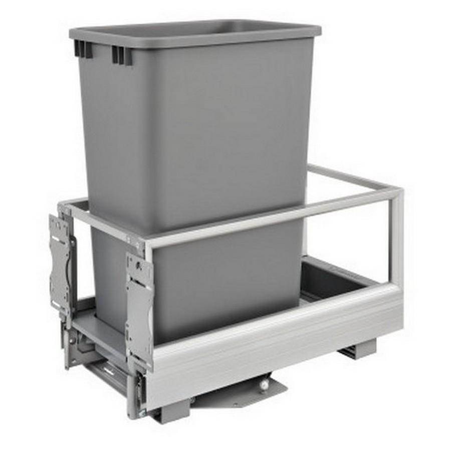 5149 Single 50 Quart Bottom Mount Waste Container Aluminum Rev-A-Shelf 5149-1550DM-117