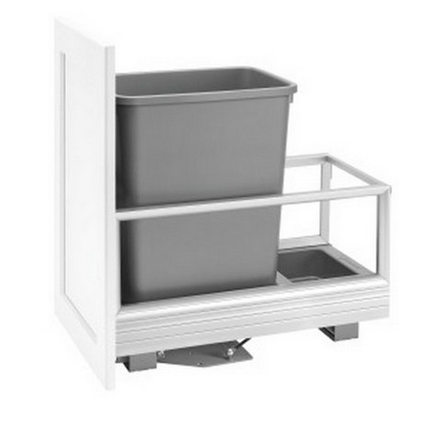 5149 Single 35 Quart Bottom Mount Waste Container Aluminum Rev-A-Shelf 5149-15DM-117