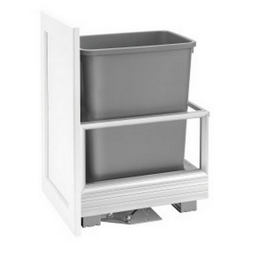"""5149 Single 35 Quart Bottom Mount Waste Container 18"""" Depth Aluminum Rev-A-Shelf 5149-15DM18-117"""