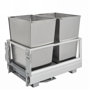 5149 Double 32 Quart Bottom Mount Waste Container Stainless Steel Rev-A-Shelf 5149-18DM-2SS
