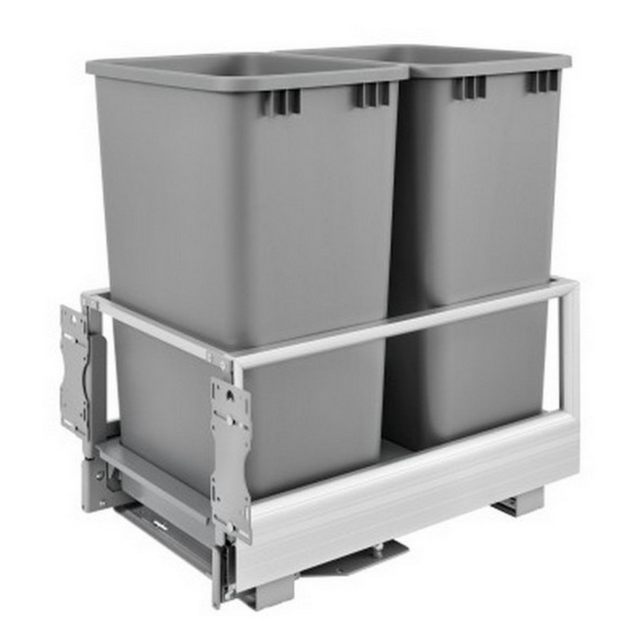 5149 Double 50 Quart Bottom Mount Waste Container Aluminum Rev-A-Shelf 5149-2150DM-217