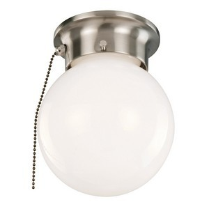 Design House 519272 1-Light Ceiling Mount Globe Light with Pull Chain, Satin Nickel